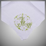 "Handkerchief With A Green ""M""  Embroidered on It"