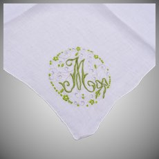 """Handkerchief With A Green """"M""""  Embroidered on It"""
