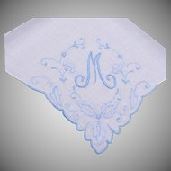 "Blue Handkerchief With ""M"" Embroidered on It"