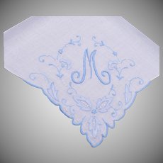 """Blue Handkerchief With """"M"""" Embroidered on It"""