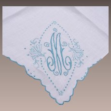 """Blue Embroidered Handkerchief - Letter """"M"""""""
