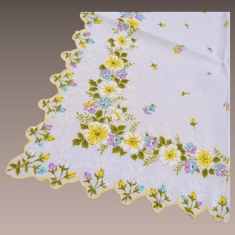 Floral Handkerchief With Scalloped Edge