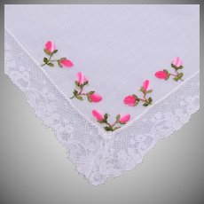 Pink Rose Bud and Lace Handkerchief