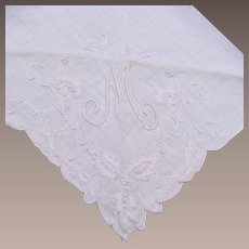 """White Handkerchief with """"M"""" Embroidered"""