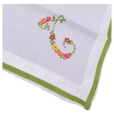 "Embroidered Handkerchief - Letter ""T"""