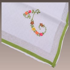 """Embroidered Handkerchief - Letter """"T"""""""