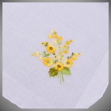 Yellow Flower Embroidered Handkerchief
