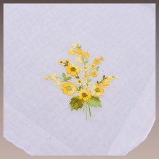Yellow Flower Embroidered Hankerchief