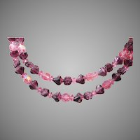 Pink and Molded Purple Glass 2 Strand Necklace