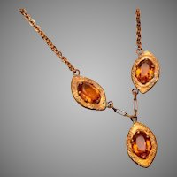 Topaz Rhinestone Drop Necklace