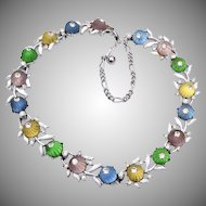 Kramer Fluted Glass Jelly and Rhinestone Necklace
