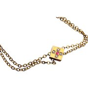 Gold Filled Slide Necklace With Seed Pearls and Red Stone