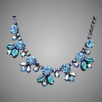 Regency Molded Leaf Blue Rhinestone Necklace