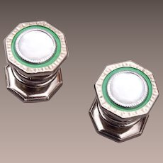 Snap Link Mother of Pearl and Green Celluloid Cuff Links