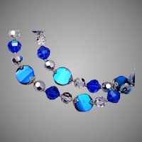 Vendome Blue Crystal 2 Strand Necklace