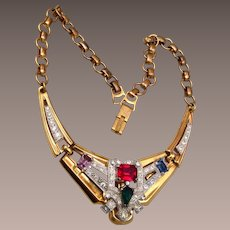 McClelland Barclay Colorful Rhinestone Necklace