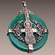 Sterling and Jade Quan Yin, the Goddess of Mercy Pendant