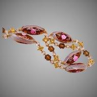 Fabulous Latticino Marano Glass with Fiorato Beads