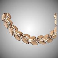 Trifari Brushed Gold Tone Leaf Necklace