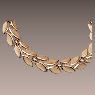 Trifari Brushed Gold Tone Leaf Necklace