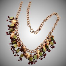 Beautiful Puffy Heart, Glass and Wood Beaded Necklace