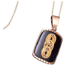 1901 Beautiful 14kt Gold, Onyx and Mine Cut Diamond Necklace
