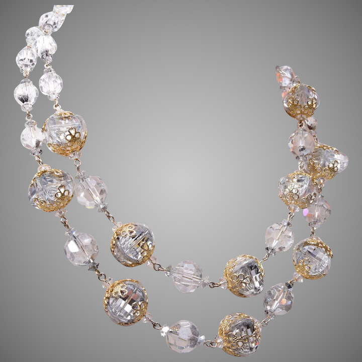 75bc620d5 2 Strand Vendome Crystal and Filigree Necklace : The Wright Glitz | Ruby  Lane