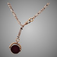 Gold Filled Bloodstone & Carnelian Spinner Fob Necklace