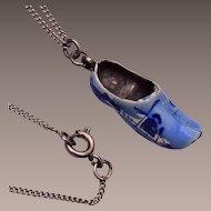 Sterling Dutch Shoe Blue Delft Necklace