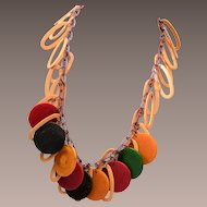 Bakelite and Poker Chip Necklace