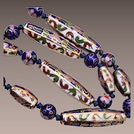 Chinese Cloisonné Tied In Between Necklace