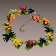 1930's Detailed Fruit Glass Necklace made in Murano Italy