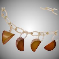 Apple Juice Bakelite on Celluloid Chain Necklace