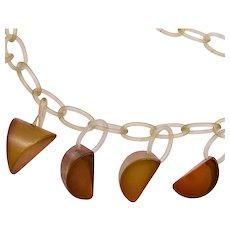 Apple Juice Bakelite on Celluloid Chain Necklace