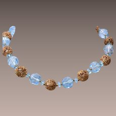 Blue Crystal and Filigree Beaded Necklace