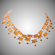 Topaz Step Glass and Real Amber Pearl Necklace