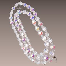 Long Clear Crystal Necklace