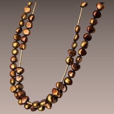 2 Strands of Gold Colored Real Pearls Necklace