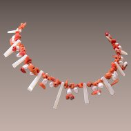Real Coral and Pearl Necklace