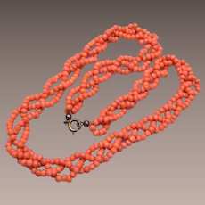 3 Strand Braided Coral Necklace