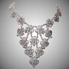 Silver and Turquoise Bib Style Necklace