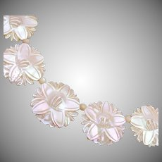 Carved Mother of Pearl Flower Necklace