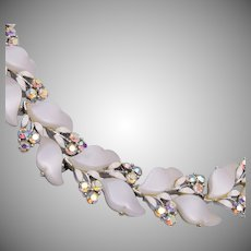 Lisner White Thermoset Necklace with AB Rhinestones
