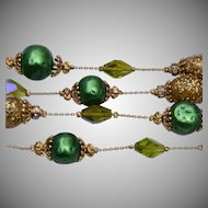 Green 2 Strand Vendome Necklace