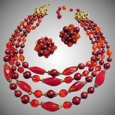 Trifari Red Set Necklace and Earrings - Pre 1955