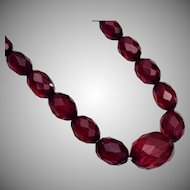Cherry Amber Bakelite Faceted Bead Necklace