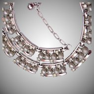 Trifari Gray Pearl and Rhinestone Necklace