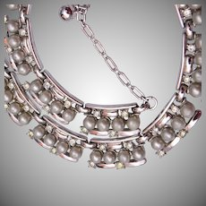 Trifari Gray Pearl and Rhinestone Necklace