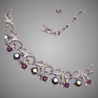 Star Purple AB Rhinestone Necklace