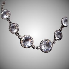 Sterling Bezel Set Crystal Necklace